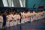 Участники соревнований по каратэ в дисциплине кумитэ